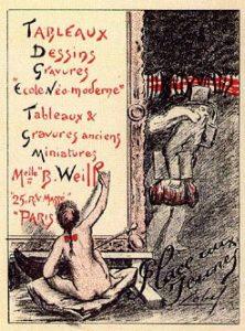 Carte commerciale de la Galerie B.Weill, Lobel, 1901, © Archives Berthe Weill-collection Marianne Le Morvan-1