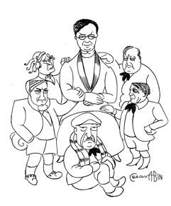 César Abin, caricatures de Berthe Weill entourée de ses artistes, in Leurs figures, 1932, ©Archives Berthe Weill - collection Marianne Le Morvan